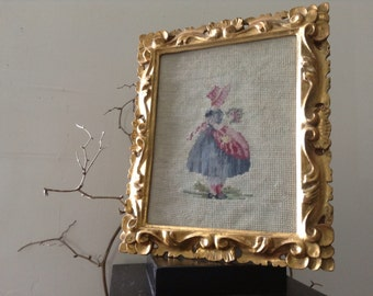 VINTAGE FRAMES...2 in this set of framed embroidered framed art, girl theme, handmade needle point, gold wood frames