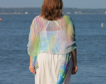 Whisper of Spring ... hand painted silk wrap, shawl