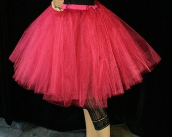 Tutu skirt Adult Shocking Pink Romance poofy knee length dance bridal petticoat wedding bridesmaid -You Choose Size- Sisters Of the Moon