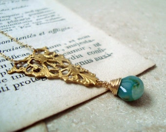 Filigree Triangle Necklace With Green Opal. Brass Jewelry Vintage Style Bridesmaid Jewelry Holiday Jewelry Art Nouveau Gold Filigree