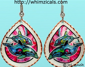 Dolphin Earrings Blue with Pink Background Original Artwork