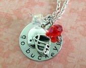 Hand Stamped Ohio State Go Buckeyes Necklace
