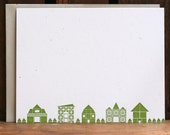 SALE Small Town Skyline flat letterpress note cards SET OF 6
