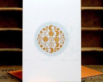 Moon letterpress card SET OF 6