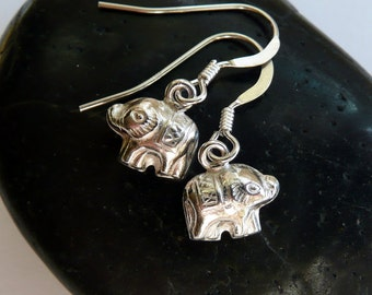 Sterling Silver Elephant Fine Silver Artisan Charms Dainty Gift for Her Boho Hippie Minimalist Earrings