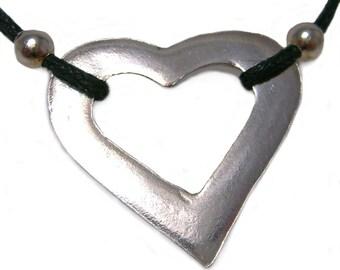 LOVE - Heart Pendant Cotton Corded .999 Fine Silver Necklace