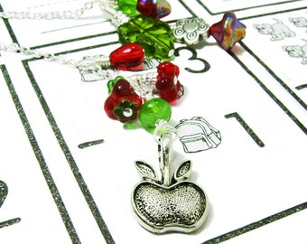 Apple Blossom - Red and Green Beaded Chain Wire Wrapped Chain Bookmark