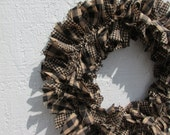 Primitive Teastained Black and Tan Small Rag Wreath Homespun Fabrics Rustic Spring Decor