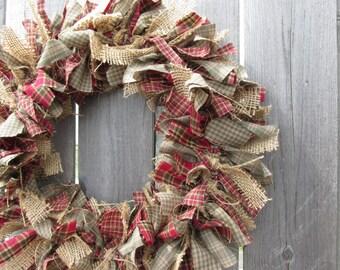 Cranberry and Sage Rustic Fall Rag Wreath Burlap Homespun Fabric Wreath, Rustic Wreath, Primitive Autumn Decor