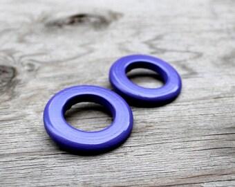 Hoop Earrings, Wood Earrings, Post Earrings, Massai Woman African Purple Wood Hoop Earrings
