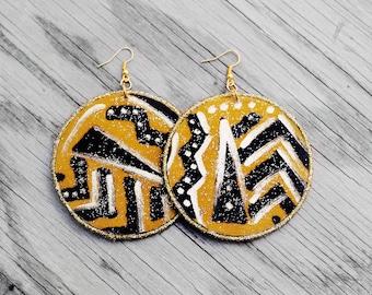 African Earrings, African Fabric Earrings, Statement Earrings, Tribal Earrings, Wood Earrings, For Her, Tribal Soul African Fabric Earrings