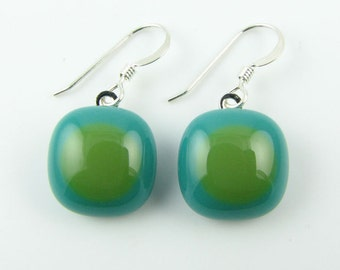 Teal & Olive Fused Glass Earrings. Made To Order. Fused Glass Jewelry. Handcut and designed in Texas. Simple Earrings. Everyday Jewelry.