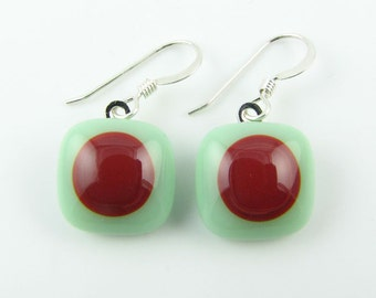 Mint and Red Fused Glass Earrings. Made To Order. Fused Glass Jewelry. Handcut and Designed in Texas. Modern Earrings. Everyday Jewelry.