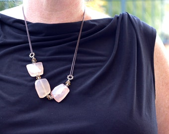 Peach Pink Necklace Long Chalcedony Faceted Chunks Brown Leather Swarovski Crystal Statement