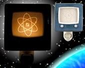 Night light retro TV Screen Atom - Translucent porcelain - mottled blue