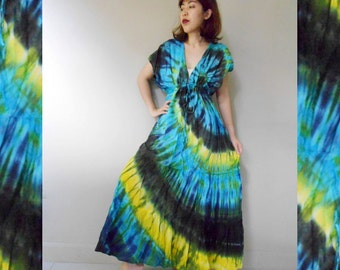 New Tropical Art Gypsy Handmade Orange Yellow Green Tie Dye Cotton maxi Kimono long Maxi Casual Dress S-L (T06)