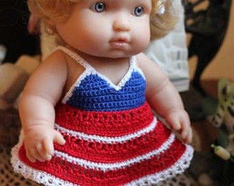 Crocheted outfit for Berenguer 9.5 10 inch baby Steps doll Thread Red White Blue Halter Dress Set