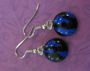 Royal Blue Dichroic Earrings, Drop Earrings, Dangle Evening Jewelry, Fused Glass Jewelry, Surgical Steel Earring Wires,  - Lelia - 379 -4