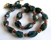 Natural Apatite Ruby Necklace, Sparkly Bohemian Faceted Stone Tribal Rustic, Burgundy Teal Blue Big Large Chunky, One Of A Kind Statement