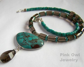 Natural Turquoise faceted Smoky Quartz Necklace Sterling Silver Drop Pendant Blue Brown necklace natural stone Rustic Tribal PinkOwlJewelry