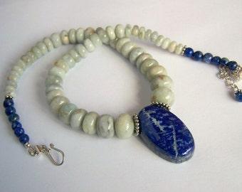 Aquamarine necklace Lapis pendant 925 Sterling Silver Bohemian Tribal Graduated Aqua royal blue stone adjustable necklace pinkowljewelry