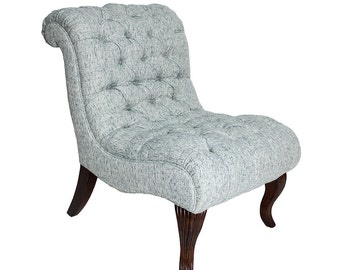 Blue Tweed Slipper Chair