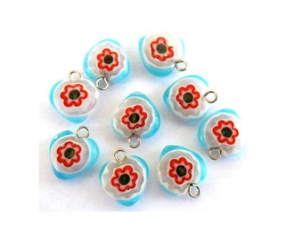 9 Vintage millefiori glass beads heart shape with self loop, can be use as pendant, 12mm