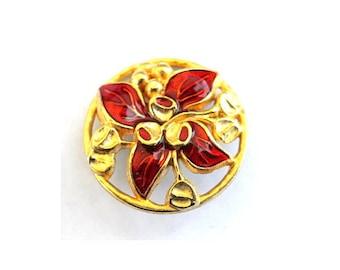 Vintage button flower shape enamel metal 26mm- red