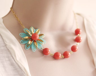 Coral Necklace Coral Flower Necklace Coral Jewelry Bridesmaid's Necklace Turquoise Coral Necklace