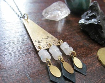 Moonstone and Mountains Necklace
