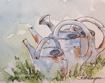 Vintage Watering Cans Original Watercolor Painting ACEO