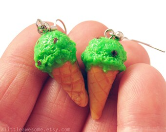 Mint Chocolate Chip Ice Cream Cone EARRINGS