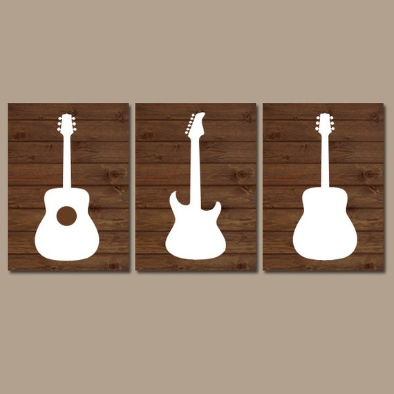 Wall Decor Music Theme : Wood guitar wall art music theme nursery boy bedroom