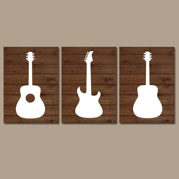 Wood Guitar Wall Art Music Theme Nursery Boy Bedroom
