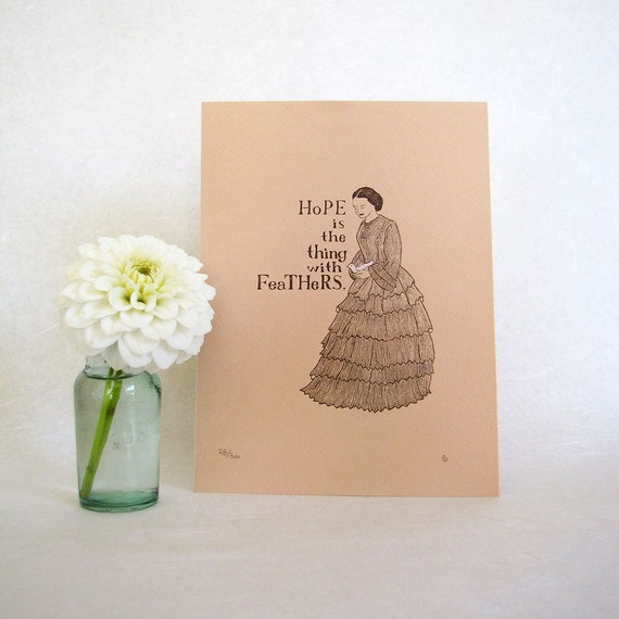 Emily Dickinson Art Print - Hope is the thing with feathers - Victorian fashion illustration