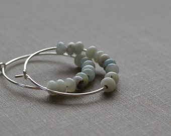 Amazonite Hoop Earrings, Amazonite Stone, Sterling Silver Hoop, Boho Hoops, Beach Earrings, Natural Blues and Greens