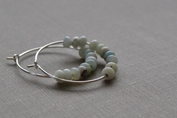 Amazonite Hoop Earrings, Amazonite Stone, Sterling Silver Hoop, Boho Hoops, Beach Earrings, Natural Blues and Greens