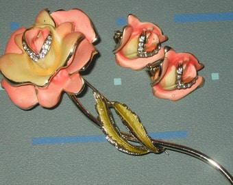 Vintage Elegant Pink and Yellow Matte Enamel Rose Pin and Earrings