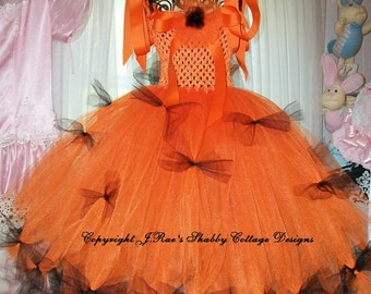 Halloween Jack-O-Lantern Princess 3 Tiered Tutu Dress Pageant Party Trick or Treat
