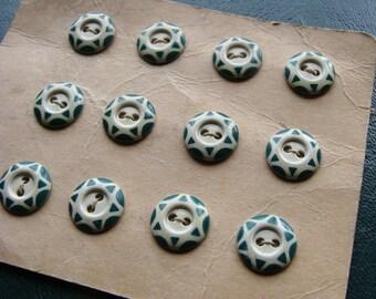 Antique Stenciled Aluminum Green & Cream Buttons on Original Card Set of 12