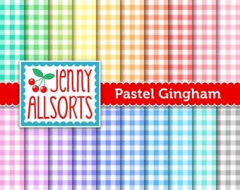 Pastel Gingham Digital Paper Pack - 20 Sheets in Bright Pastel Colors - Instant Download