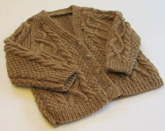 Boys Handknit Sweater Size 3 4, Handmade Irish Cardigan in Chestnut Brown Wool
