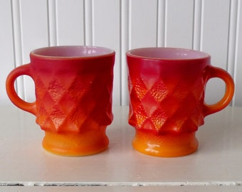SALE: Pair of vintage Kimberly Anchor Hocking diamond pattern mugs in orange