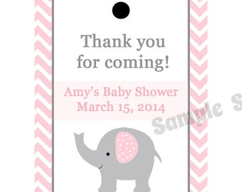 24 Personalized Baby Shower Favor Tags  PINK ELEPHANT