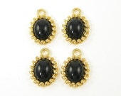 Black Gold Earring Drops Cab Pendant Charms for Jewelry Making, Black Pendant Metal Frame Gold Drop Charm |BL5-16|4