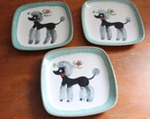 Mid Century Modern Mad Men GLIDDEN Pottery Poodle Dishes Plates // Hand Painted // Seafoam Green Black Grey Red // 1950s 1960s