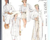 McCalls Misses Shirt In Two Lengths 3 Hour Sewing Pattern 7077  Size   Y   Sml-Med-Lrg   UNCUT
