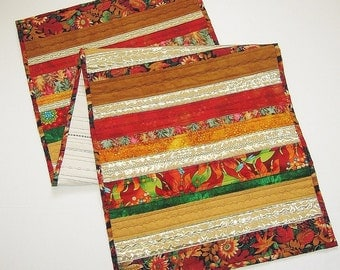 Scrap Fabric Quilted Table Runner Autumn Colors