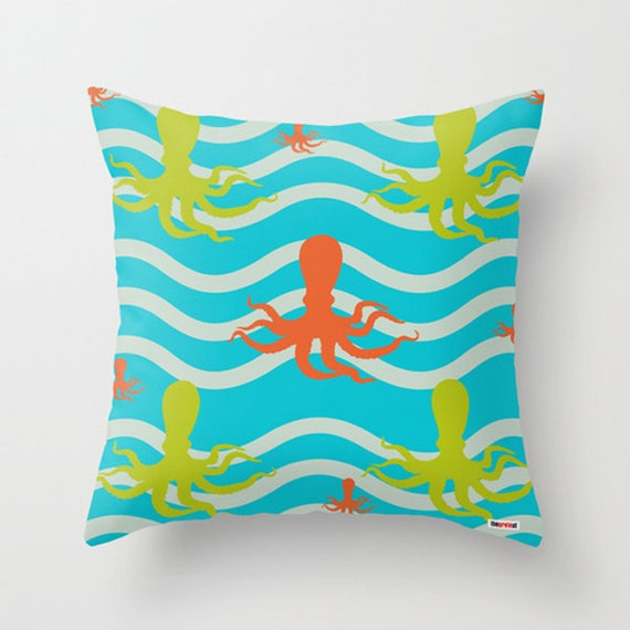 Throw Pillow Covers Nautical : Items similar to Decorative throw pillow cover Octopus - Nautical pillow cover - Modern pillow ...