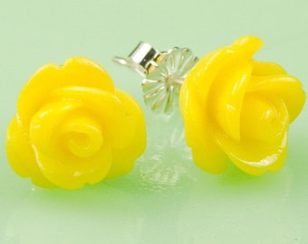 Yellow Lucite Rose Button Post Earrings